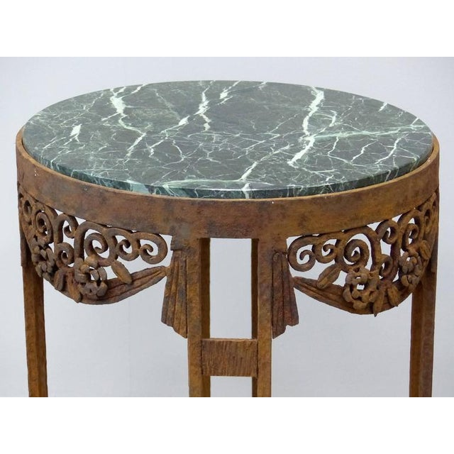 French Art Deco Wrought Iron Marble Top Tables by Paul Kiss - A Pair For Sale In Miami - Image 6 of 11