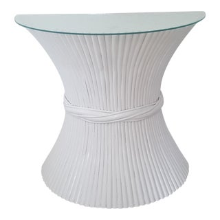 McGuire Hollywood Regency Sheaf of Wheat Half Moon Table With Glass For Sale