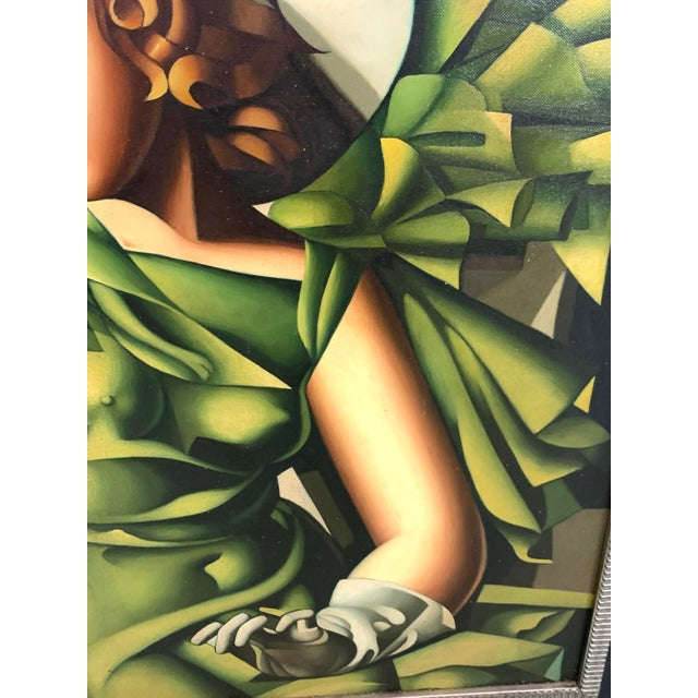 Young Lady With Gloves, After Tamara De Lempicka For Sale In West Palm - Image 6 of 10