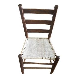 Vintage Ladderback Handmade Wood Chair Folk Art For Sale