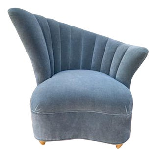 1940s Hollywood Regency Kagan Style Asymmetrical Scallop Back Lounge Chair For Sale