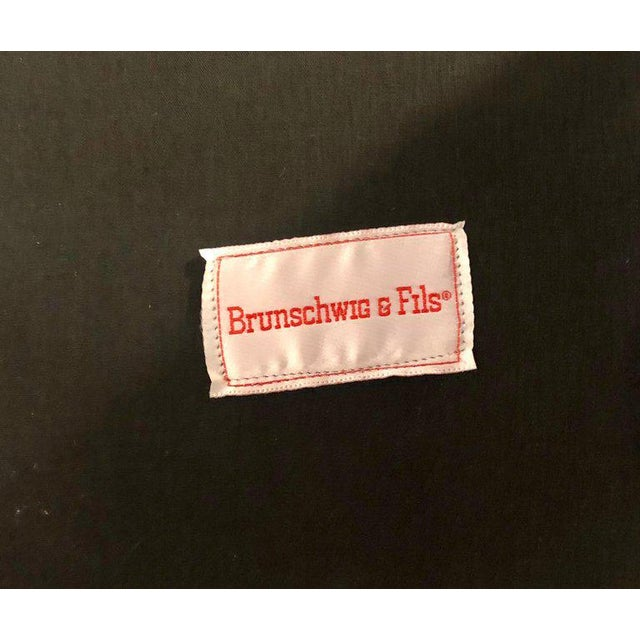 Brown Suede and Tweed Leather Bergère Arm or Office Desk Chair Brunschwig & Fils For Sale - Image 9 of 11