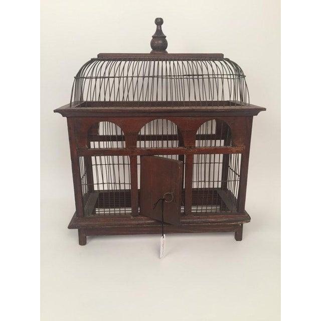 1940s Antique Wood & Metal Bird Cage - Image 2 of 6
