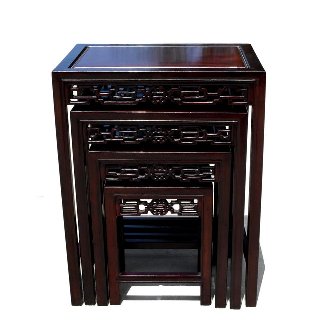 Chinese Chinese Rosewood Nesting Tables - Set of 4 For Sale - Image 3 of 13