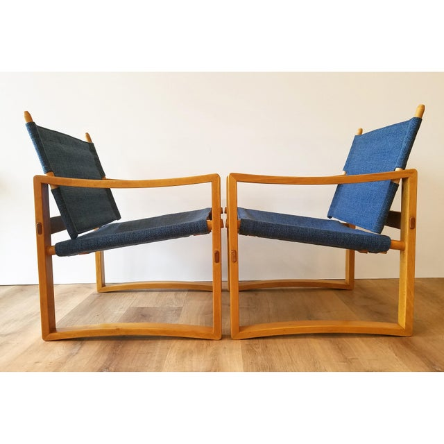 Mid-Century Modern Newly-Upholstered Borge Jensen Danish Safari Sling Chairs - a Pair For Sale - Image 3 of 10