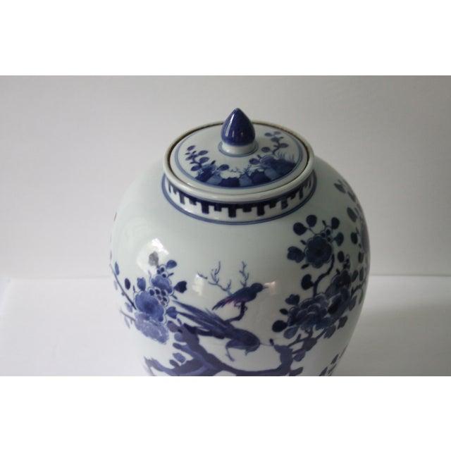 Chinoiserie Blue & White Porcelain Bird Jar - Image 5 of 5