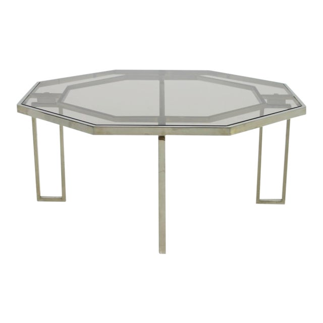 Octagonal Coffee Table With Metal Base and Glass Top, 1960s For Sale