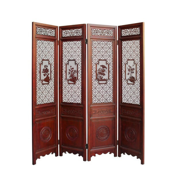 Chinese Reddish Brown Stain 4 Seasons Flower Wood Panel Floor Screen For Sale - Image 9 of 13