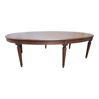 20th Century French Solid Oak Oval Leather Top Conference Table For Sale