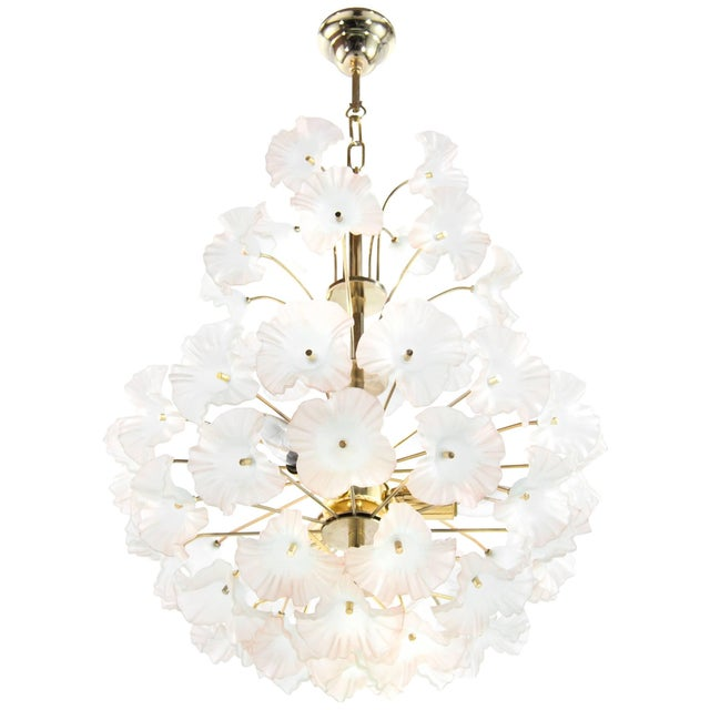 "Italy, 1950s Murano Glass and Brass ""Hibiscus"" Chandelier For Sale - Image 10 of 10"