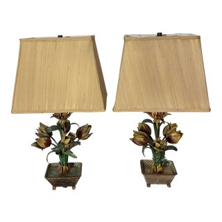 Antique Italian Hand Painted Tole Lamps - a Pair For Sale