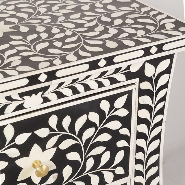 Contemporary Imperial Beauty 2 Drawer Bedside Table in Black/White For Sale - Image 3 of 6