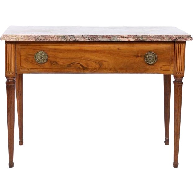 18th Century Italian Neoclassical Inlaid Marble Top Console For Sale - Image 10 of 10
