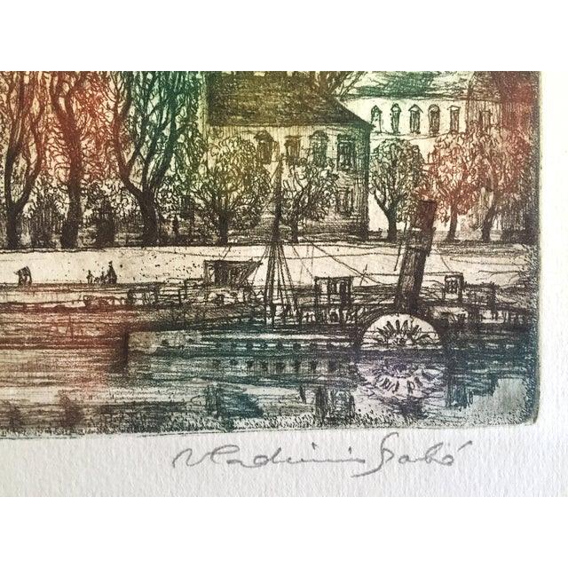 Hungary Castle Budapest, Vladimir Szabó Etching For Sale - Image 4 of 6