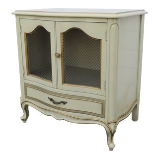 French Painted Nightstand Side End Table With Gold Highlights by Drexel For Sale