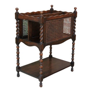 20th Century Arts and Crafts Oak Barley Twist Caned Magazine Rack For Sale