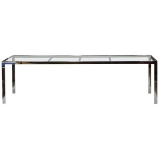 Design Institute America Dia Mid-Century Modern Extendable Chrome Dining Table For Sale