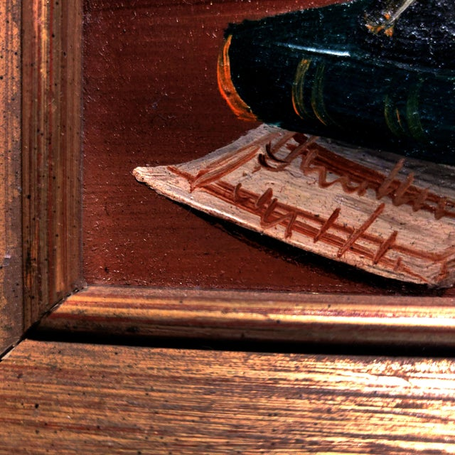 Wood 20th Century Gold Cerused Wood Framed Cryptically Composed Still Life Oil Painting on Board For Sale - Image 7 of 13