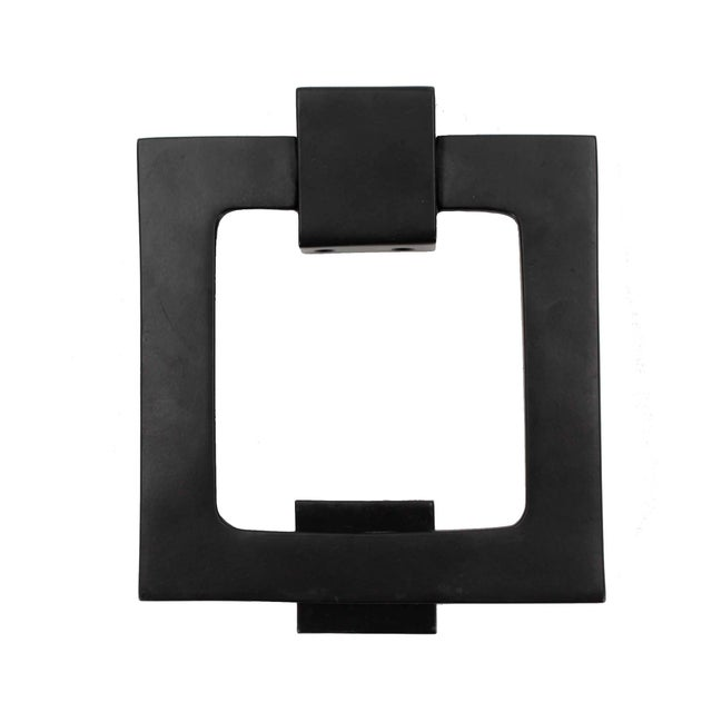 1990s Large Modern Black Door Knocker, Matching Strike Plate For Sale - Image 5 of 5