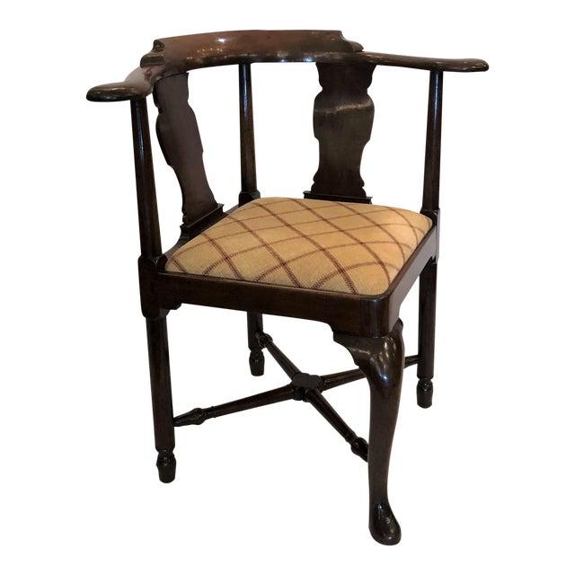 Antique English 19th Century Mahogany Corner Chair For Sale