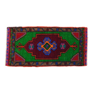 """Hand Made Turkish Rug. Colorful Rug, Bath Mat, Laundry Decor 1'6"""" X 2'11"""" For Sale"""