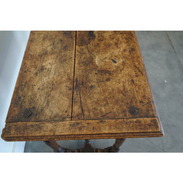 Brown Antique French Louis XIII Side Table For Sale - Image 8 of 9