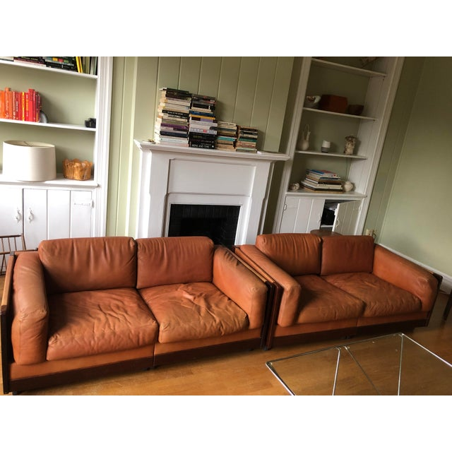 """These are a pair of the """"920"""" two-seater sofas from Afra and Tobia Scarpa for Gavina. They're in good pre-owned condition;..."""