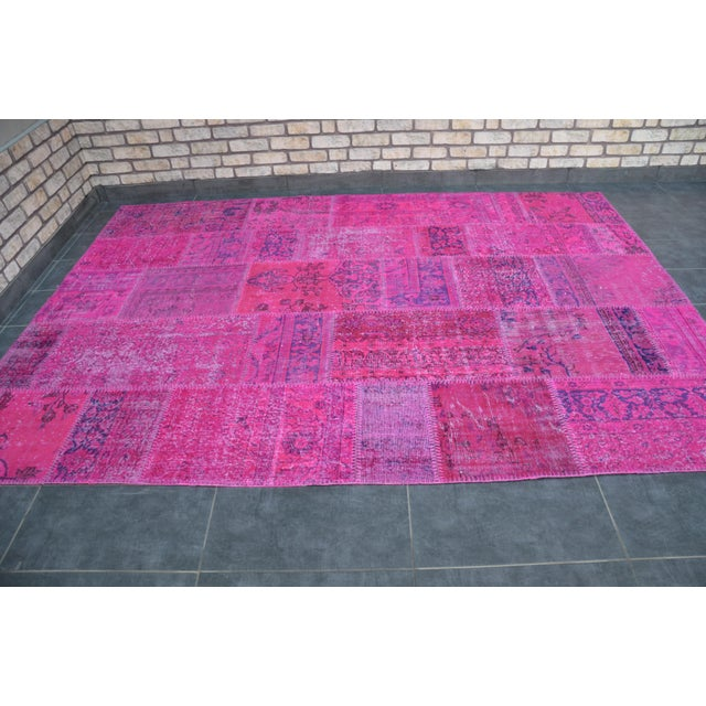 Pink Overdyed Turkish Anatolian Patchwork Carpet - 7′1″ × 10′ For Sale - Image 4 of 11