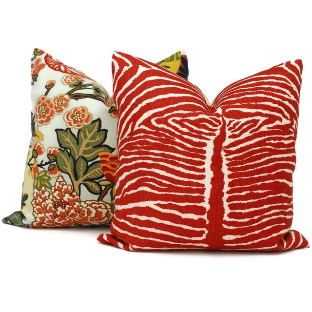 Transitional Transitional Red Le Zebre Linen Pillow Cover For Sale - Image 3 of 4