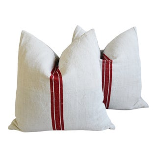 """French Country Bold Red Striped Grain-Sack Feather/Down Pillows 22"""" Square - Pair For Sale"""