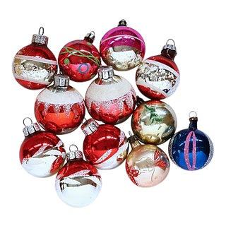 Vintage Mid-Century Glass Christmas Balls, Set of 12 For Sale