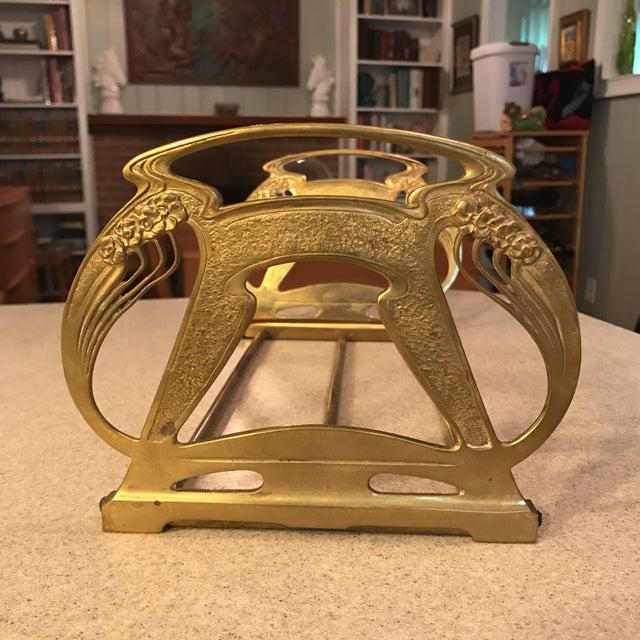 1920s Art Nouveau Brass Expandable Book Rack - Image 2 of 10