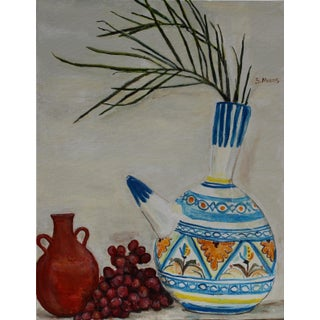 """Sarah Myers """"Still-Life With Water-Pot and Wine Jug"""" Original Acrylic on Canvas Painting For Sale"""