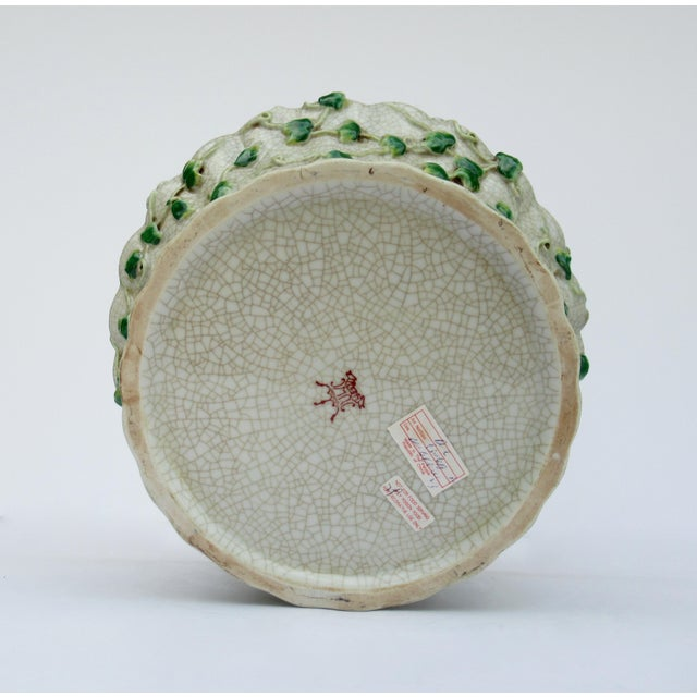 Vintage Ceramic Crackle Center Bowl With Adorned English Ivy by United Wilson/Hong Kong For Sale - Image 11 of 13