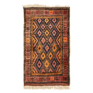 1900s Antique Baluch Geometric Pink and Orange Wool Persian Rug- 1′11″ × 2′11″ For Sale