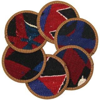 Rug & Relic Kilim Coasters, Cizre - 6 For Sale
