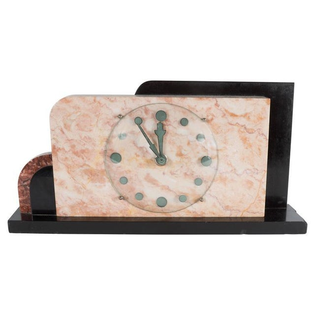 French Art Deco Streamline Exotic Pink, Black and Red Marble Table Clock For Sale - Image 9 of 9