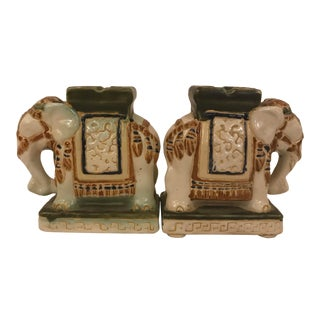 Pair of Ceramic Elephants For Sale