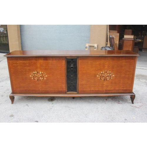 Long French Art Deco Sideboard / Buffet By Jules Leleu with Mother of Pearl Circa 1940s For Sale - Image 5 of 8