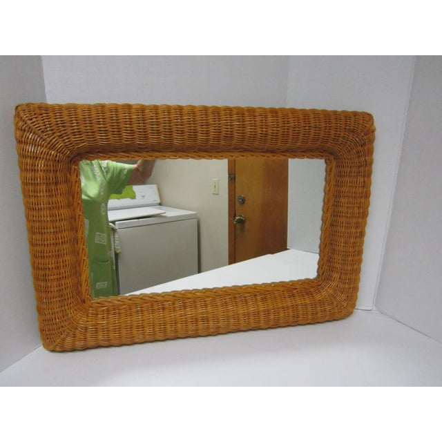 Vintage Lacquer Wicker Rattan Wall Mirror - Image 5 of 11