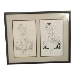 Framed Original Magazine Fashion Pencil Sketch and Matching Black Ink Drawing For Sale