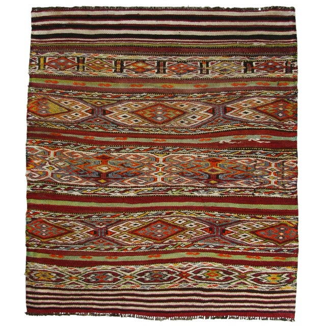 Vintage Sofreh Flatweave Turkish Kilim Rug - 3′1″ × 3′7″ For Sale