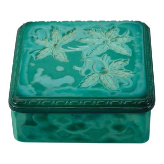 Czech Square Malachite Glass Box For Sale