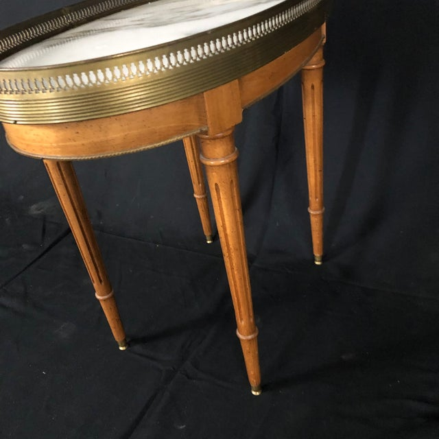 Metal French Louis XVI Style Oval Oak Marble Topped Side Table For Sale - Image 7 of 8