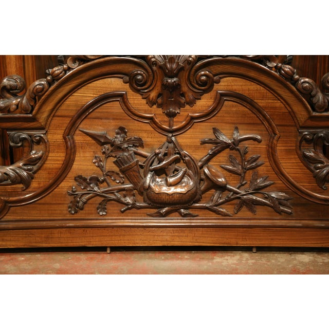 Rosewood Large 19th Century French Carved Rosewood Hunting Buffet With Deer and Birds For Sale - Image 7 of 11