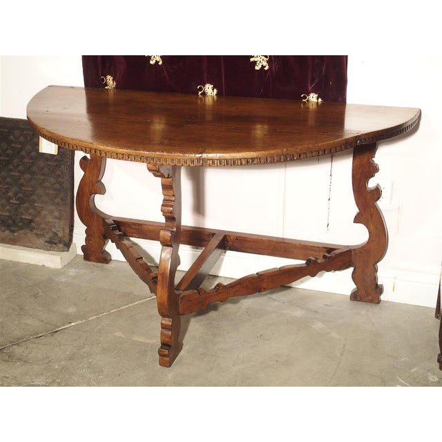 Wood 18th Century Italian Walnut Wood Demi Lune Console Table For Sale - Image 7 of 13