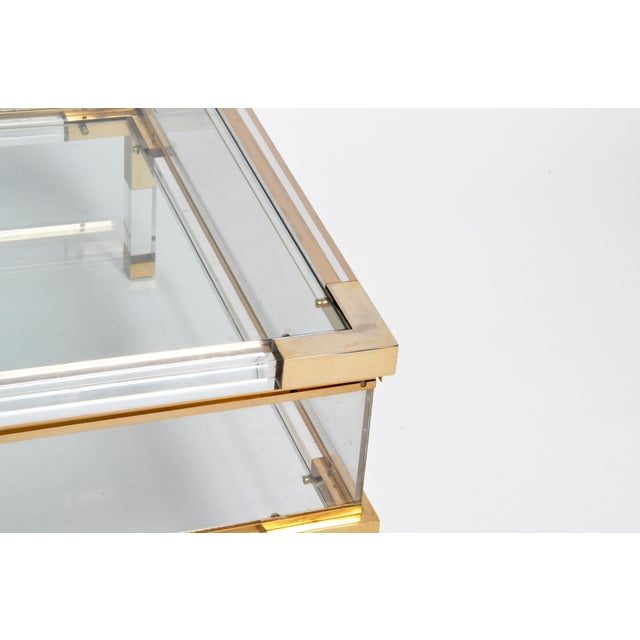 Vintage 1970s Sliding Glass Top Coffee Table Attributed to Maison Jansen For Sale - Image 10 of 13