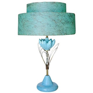 Mid-Century Ceramic Sculptural Lotus Table lamp with Whipstitch Shade For Sale