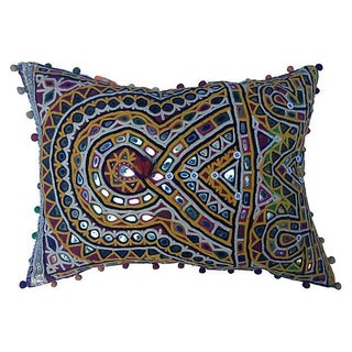 Indian Mirrored Gypsy Pillow For Sale