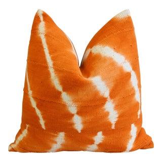 "Tangerine Orange & White Mali Tribal Mud Cloth Feather/Down Pillow 22"" Square"